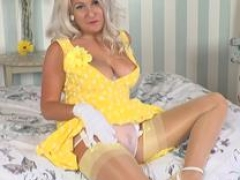 Frisky blonde Lu Elissa strips off retro panties and additionally wanks in nylons garters and additionally heels