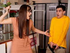 Cute nerdy babe Lexi Luna gets fucked hard by a large penis