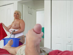 BBW blonde maid having sex all over client's bedroom