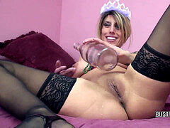 Busty wifey Lavender Rayne drills her labia with a bottle