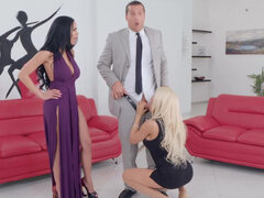 Slutty sisters Victoria June & Luna Star fight over bf massive dick