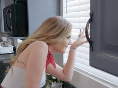 Cheating blonde wife gets analized in the kitchen