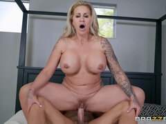 Chubby blonde rides hard dick with her three holes
