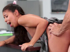 Naughty schoolgirl Jasmine Summers penetrated on the supervisor's desk