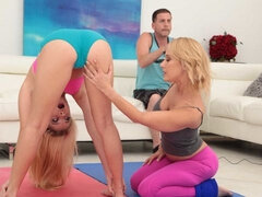 Riley's new stepmom Tabatha spreads out her yoga mat next to her stepdaughter and offers to teach the couple some truly advanced moves