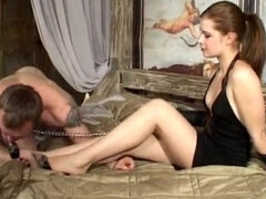 Femdom bare feet domination & cock teasing leashed slave on bed