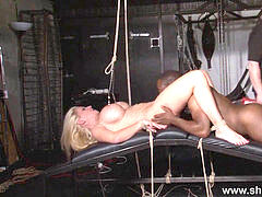 chesty german victim Melanie Moons tounge trussed tit torture