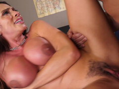 Busty teacher Ariella Ferrera lets student fuck her & bust his load over her face