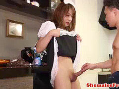 tranny maid riding weenie after taunting
