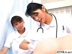 Japan nurses examine patents dark hole while pumping penis