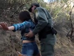 Mexican border patrol agent fucked natural breasts slut