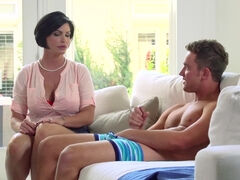 Cougar Shay Fox lets her stepson fuck & creampie her mature pussy