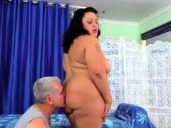 Obesety Lacy Bangs Has Her Obese Body Rubbed Down