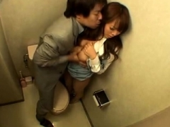 Boobalicious Japanese girl getting screwed in the office toilet