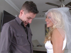 Nasty blonde bride with huge boobies rides a precious meat pole
