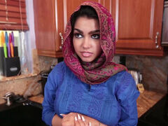 Muslim Ada S in hijab fucking landlord & taking creampie to pay her rent