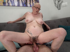 Grandma Violett get fucked hard & filled with cum by young stud