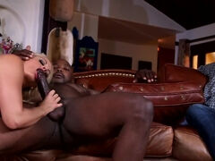 Busty blonde milf cuckolds her husband with a black lover
