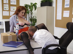 A redhead with a pretty body is getting her pussy rammed