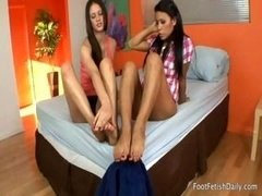 These lascivious lez hotties want to adore each other's feet and besides toes to the maximum