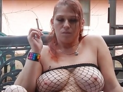 Rebel smoking snatch play JOI in fishnets and heels