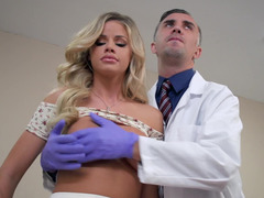 A fine blonde is felt up and fucked by the doctor in his office