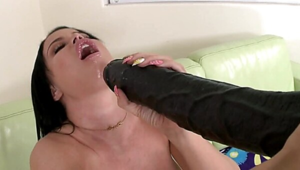 Raven haired pornstar is ready to suck a huge pecker right now