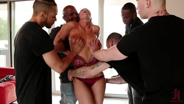 Bandits gangbang pretty blonde with big boobs in all holes