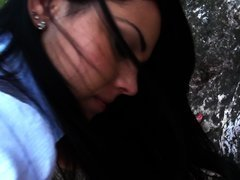 Outdoor sex scene features a wonderful dark-haired beauty and her bf
