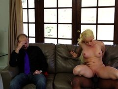 Blonde Barbie gets blacked in front of corrupted guy who watches