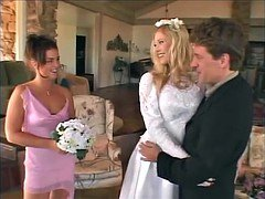 Unbelievable blonde bride fucks her groom with her bridesmaid
