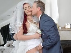 Not-so-blushing bride Skyla Novea bends over to be fucked in her pussy and then ass
