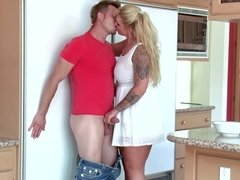 Ryan Conner rides stepson's cock & gets creampied beside her hubby