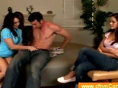 Three clothed milfs jerk a stranger