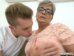 Granny craves to suck that hulking schlong and get nailed in different poses by this handsome dude