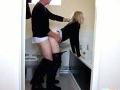 Hot Blonde Doggystyle In The Bathroom