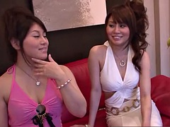two japanese models have some lesbian fun with toys