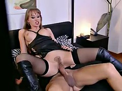 hot sexy blonde in leather fucked in the bedroom