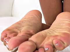 barefoot latina tgirl tease with her toes