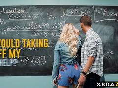 Math teacher blonde gives guy student new incentive