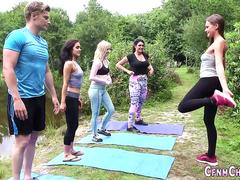 Clothed yoga babes suck