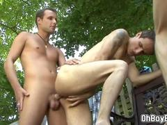 Guy gets double anal fucked during garden party