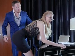 Alexa Grace gets dominated & fucked by her boss & swallows cum