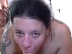 two horny babes fuck with lots of dudes