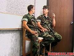 Buff army dudes hot fellatio and moreover hard ass fucking