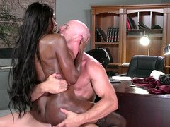 Great ebony darling gets rammed so hard by a white stallion