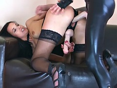 strapon cum - 2 ladies in stockings and leather pants with pantyhose on under fuck each other 2 cumshots