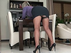 Aged blonde teasing with her upskirt