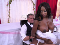 Fella & black bride with big boobs can't anticipate wedding night