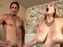 Bulky curves of Athena Pleasures fucked by two men